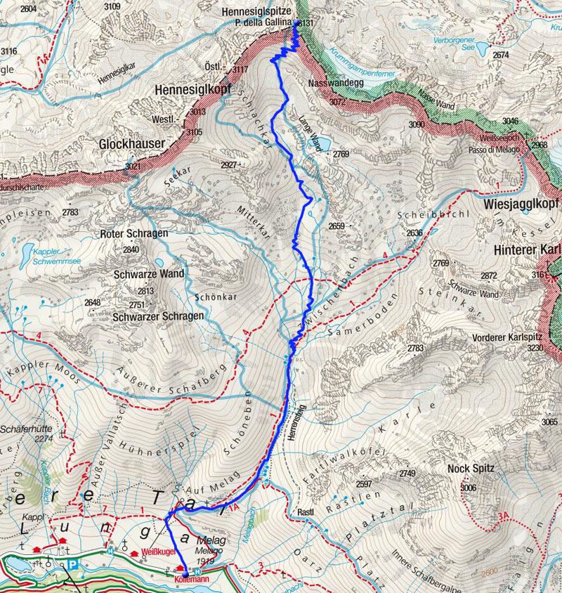 Hennesiglspitze (3131m) von Melag