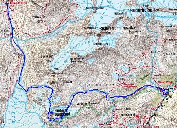 1 Tag: Mutterbergalm-Hinterer Daunkopf-Amberger Hütte