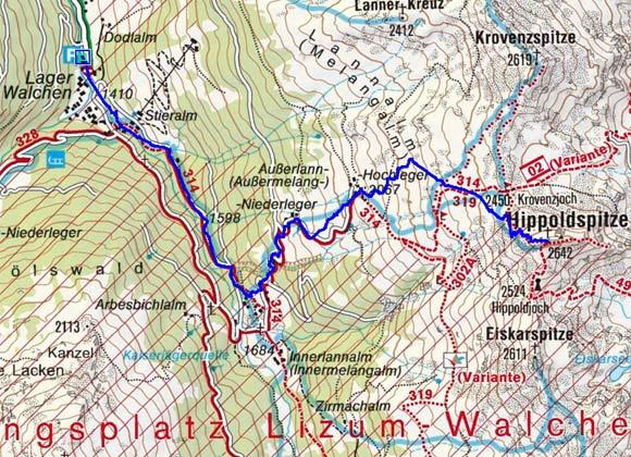 Hippoldspitze (2642 m) vom Lager Walchen