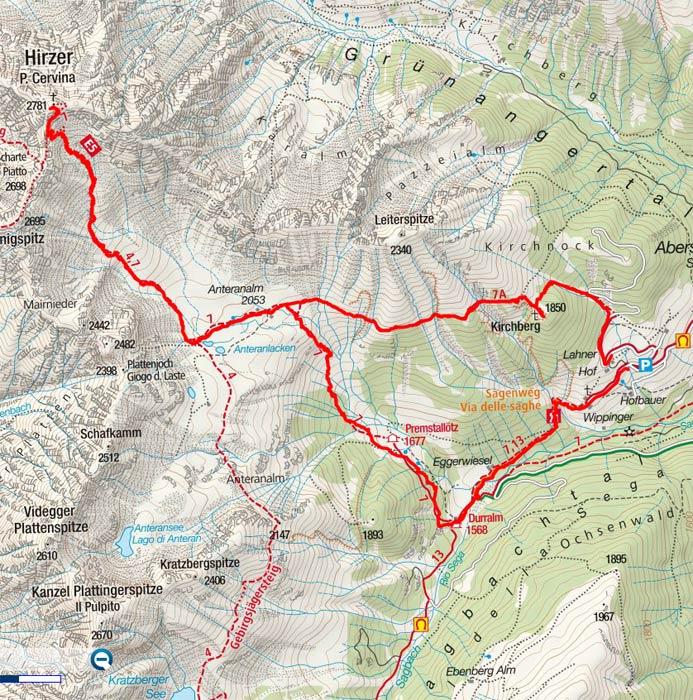 Hirzer, 2.781m von Aberstückl, Sarntal