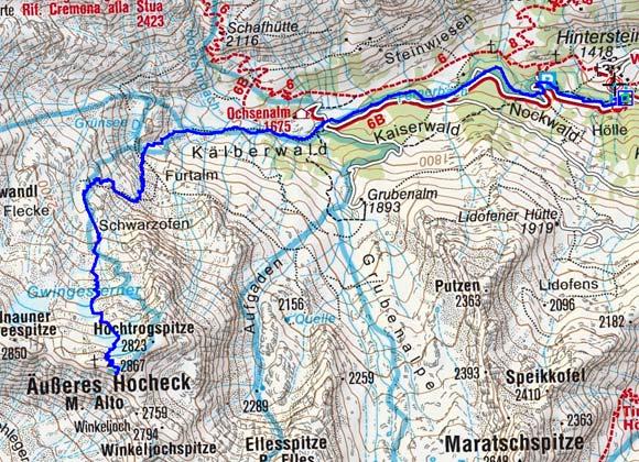 Äußeres Hocheck (2867 m) vom Weiler Stein