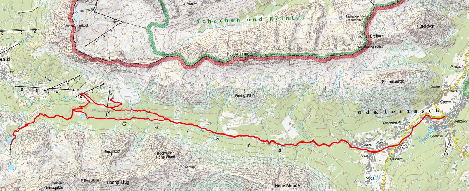 Hochfeldernalm-Seebenalm-Seebensee aus der Leutasch