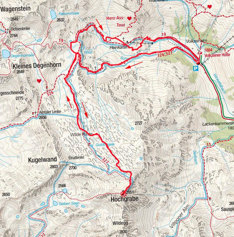 Hochgrabe (2951m) von der Volkzeiner Hütte