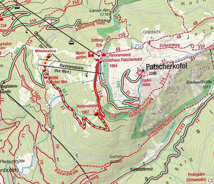 Hochmahdalm (1907m) von der Patscherkofel-Bergstation