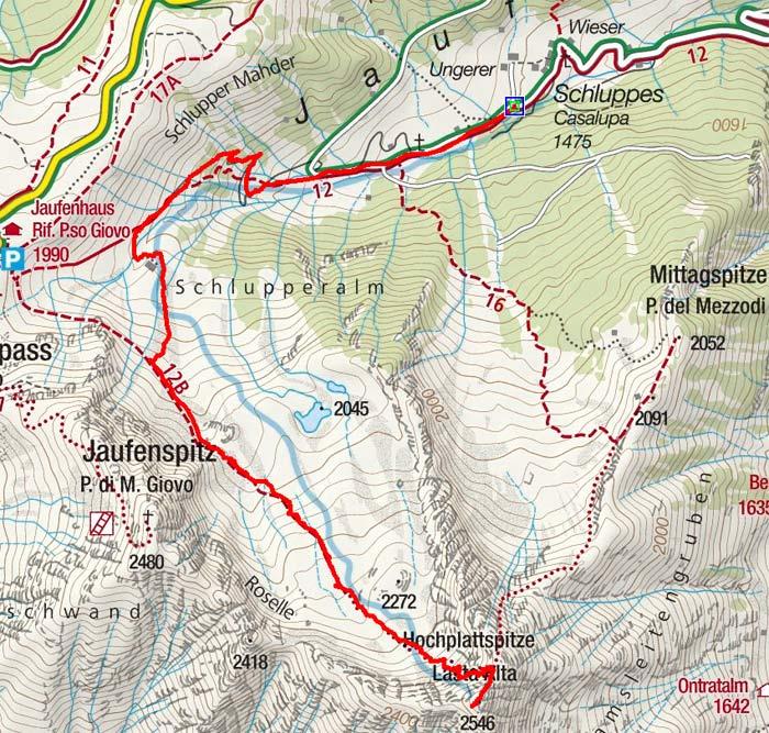 Hochplattspitze (2546m) von Schluppes