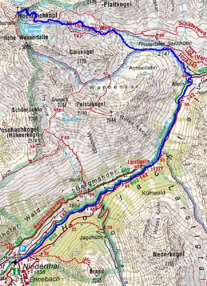 Hochreichkopf (3010 m) von Niederthai