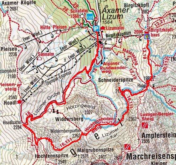 Schneiderspitze (2156 m) und Hochtennbodensteig