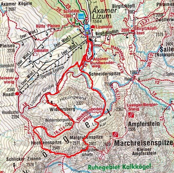 Hochtennspitze (2549 m) aus der Axamer Lizum