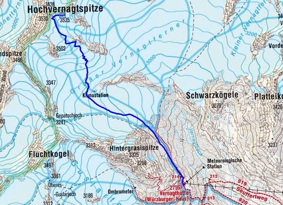 Hochvernagtspitzen (3530/3535 m) von der Vernagthütte