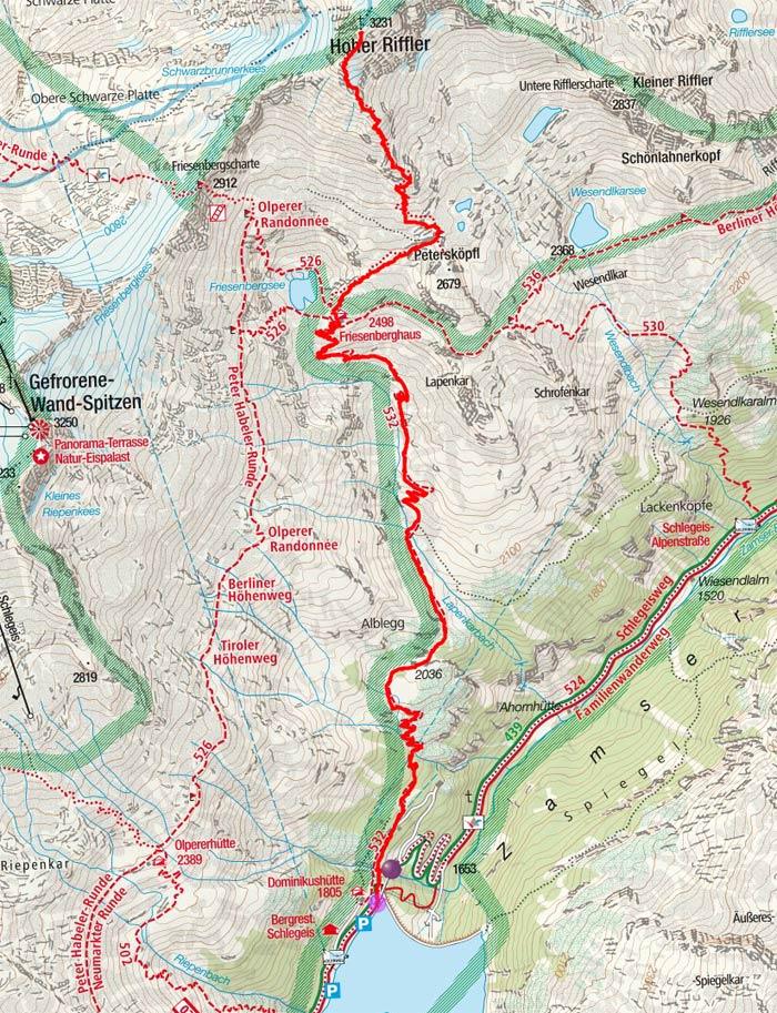 Hoher Riffler (3231 m) vom Schlegeisspeicher
