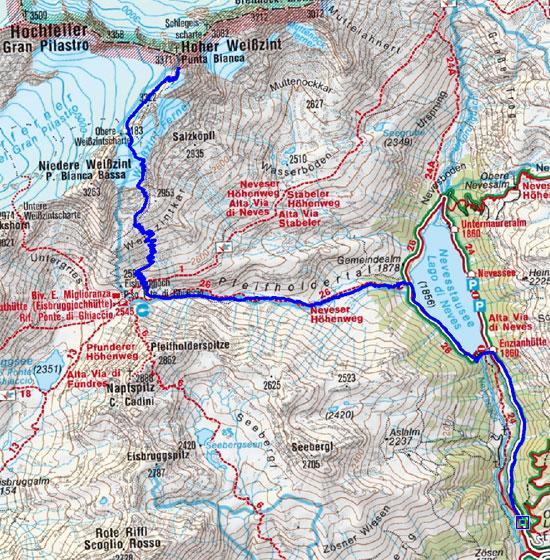 Hoher Weißzint (3371 m) vom Nevesstausee/Mautstelle
