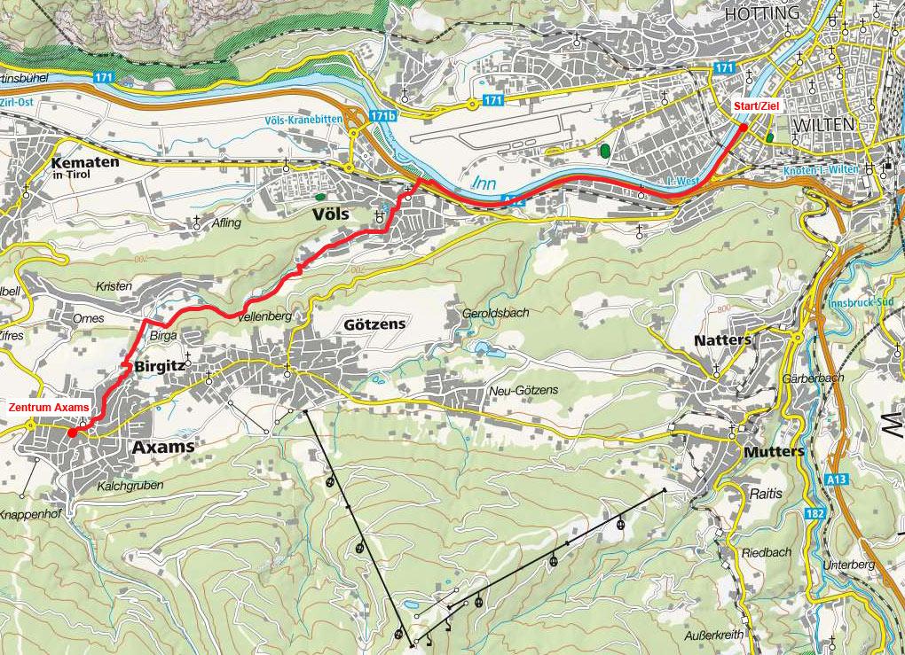 Von Innsbruck durch das Nasse Tal nach Axams