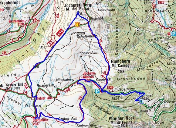 Jocherer Berg (2390 m) vom Parkplatz Obersttränke