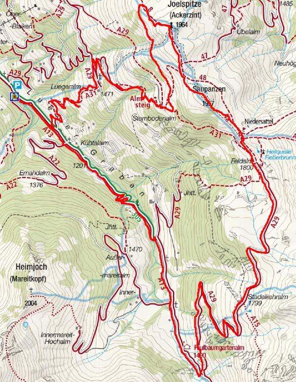 Joel, 1964m und Saupanzen, 1957m im Alpbachtal