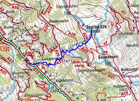 Joelspitze (1964 m) aus dem Lueggergraben
