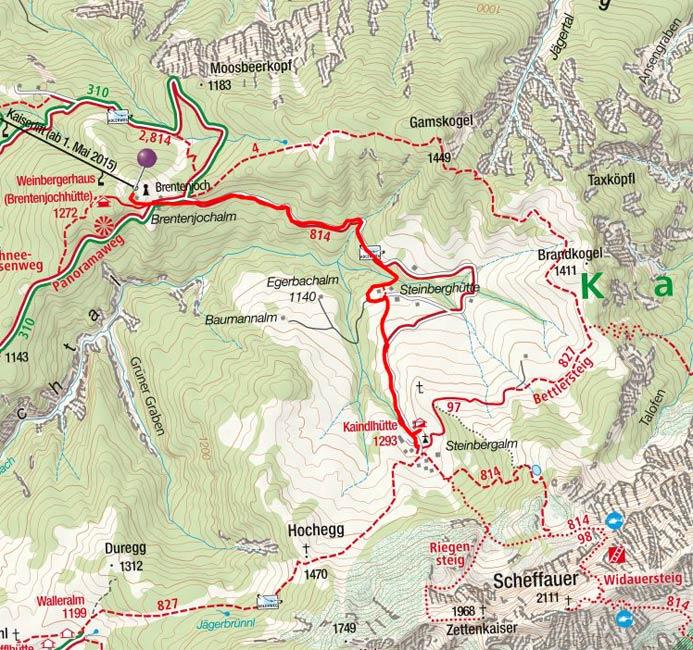 Kaindlhütte (1316 m) vom Brentenjoch