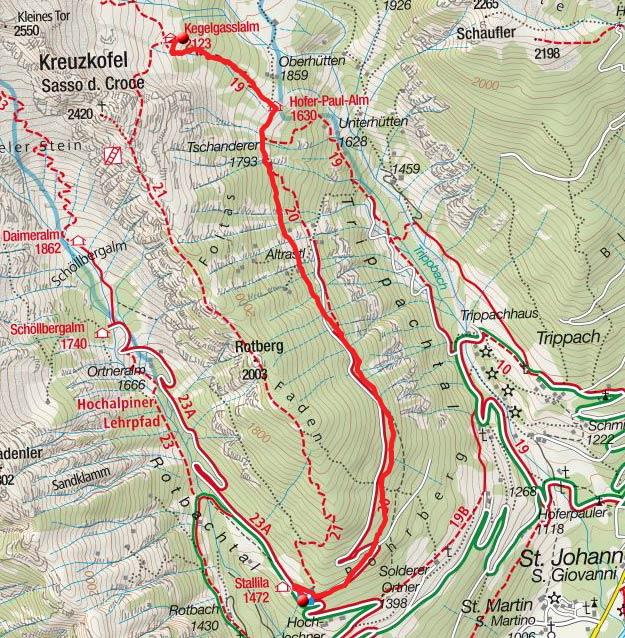 Kegelgassl Alm (2109m) vom Berggasthof Stallila