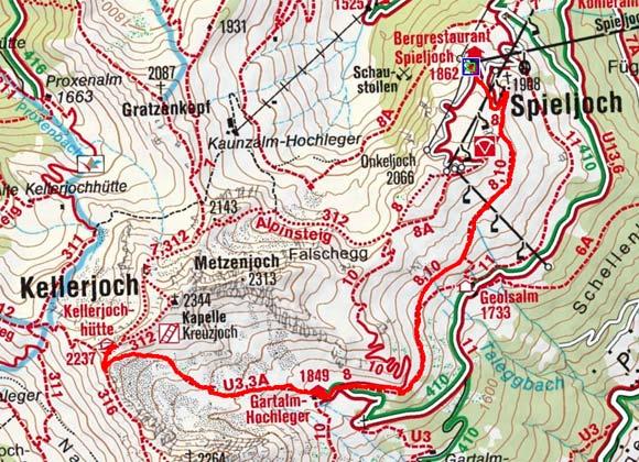 Kellerjochhütte (2237 m) von der Spieljochbahn