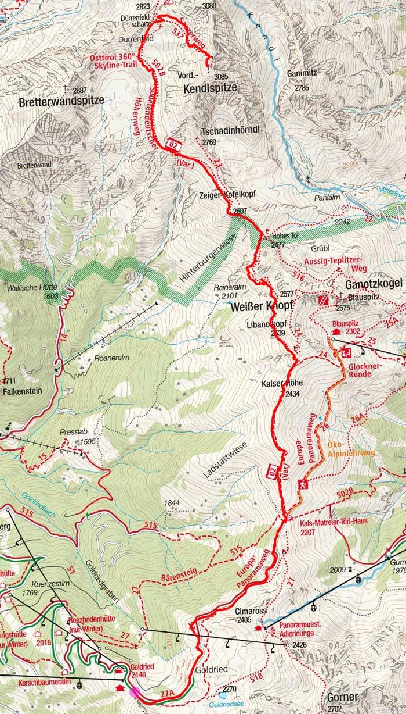 Vordere Kendlspitze (3085 m) von der Goldriedbahn