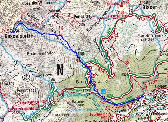 Kesselspitze (2728 m) durch den Burgwald
