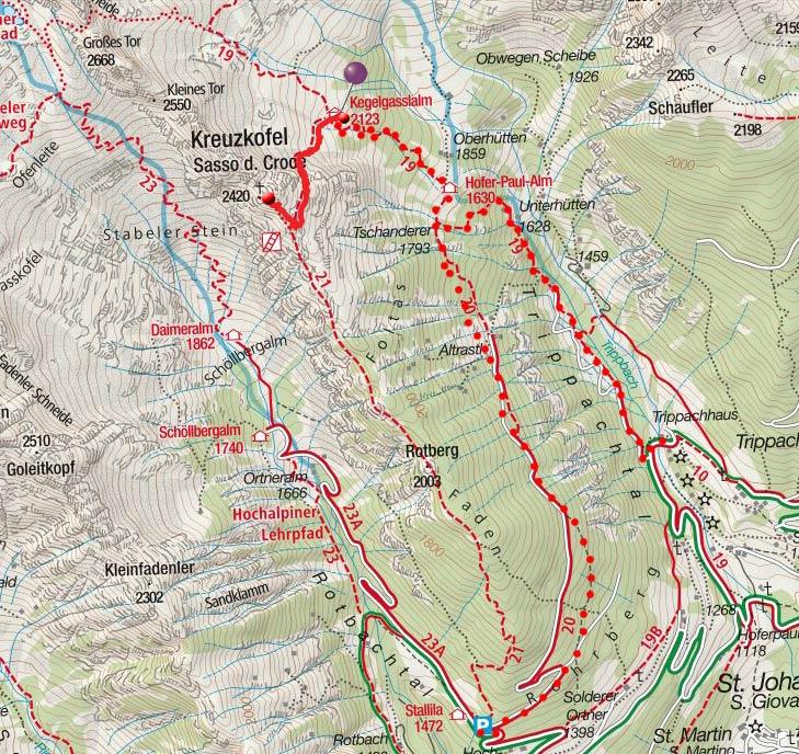 Kreuzkofel (2420m) von der Kegelgasslalm