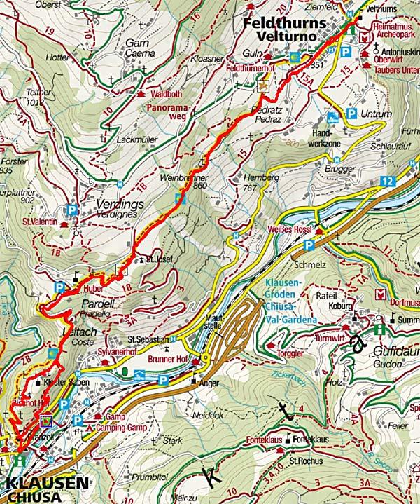 Von Klausen zum Kloster Säben und Feldthurns