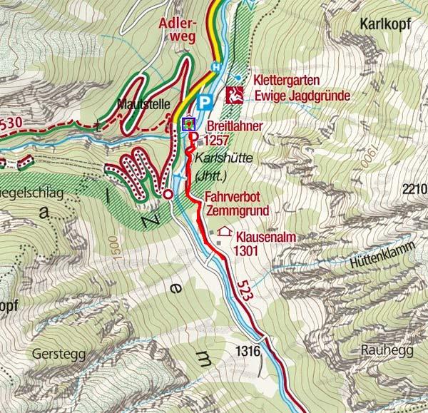 Klausenalm (1301 m) vom Alpengasthof Breitlahner