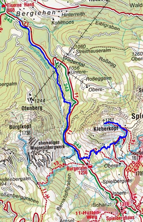 Kleberkopf (1757 m) vom Gasthof Eiserne Hand