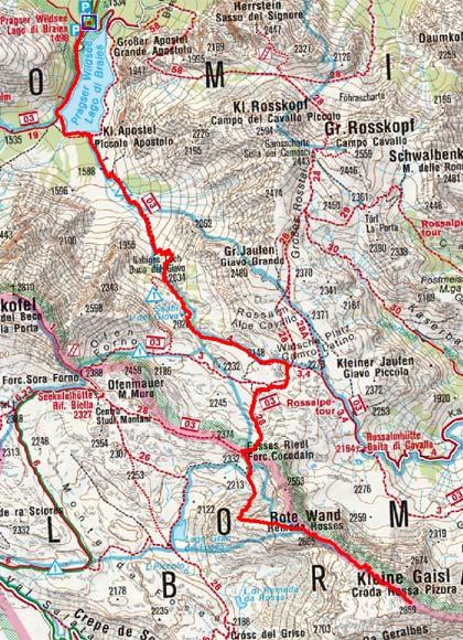 Kleine Gaisl (2859 m) vom Pragser Wildsee