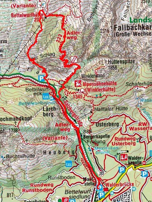 Absamer Klettersteig zur Bettelwurfhütte, 2.077m