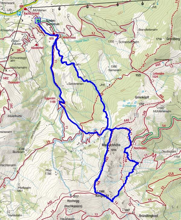 Marbachhöhe – Klingspitze Rundtour von Hintermoos