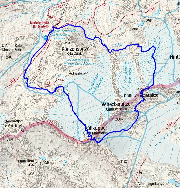 Köllkuppe - Veneziaspitzen Rundtour von der Marteller Hütte