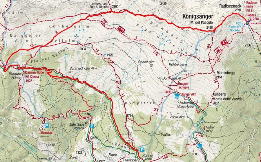 Radlseehütte – Königsanger – Klausner Hütte - Kühhof