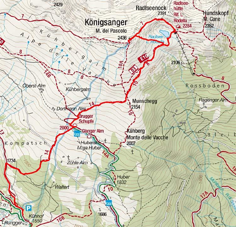 Königsanger (2436 m) vom Parkplatz Kühhof