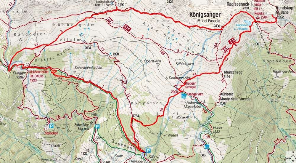 Königsanger-Radlseehütte Panoramatour (2 Tagesetappen)