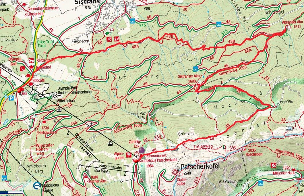 Patscherkofel Bergstation - Aldranser Alm - Talstation