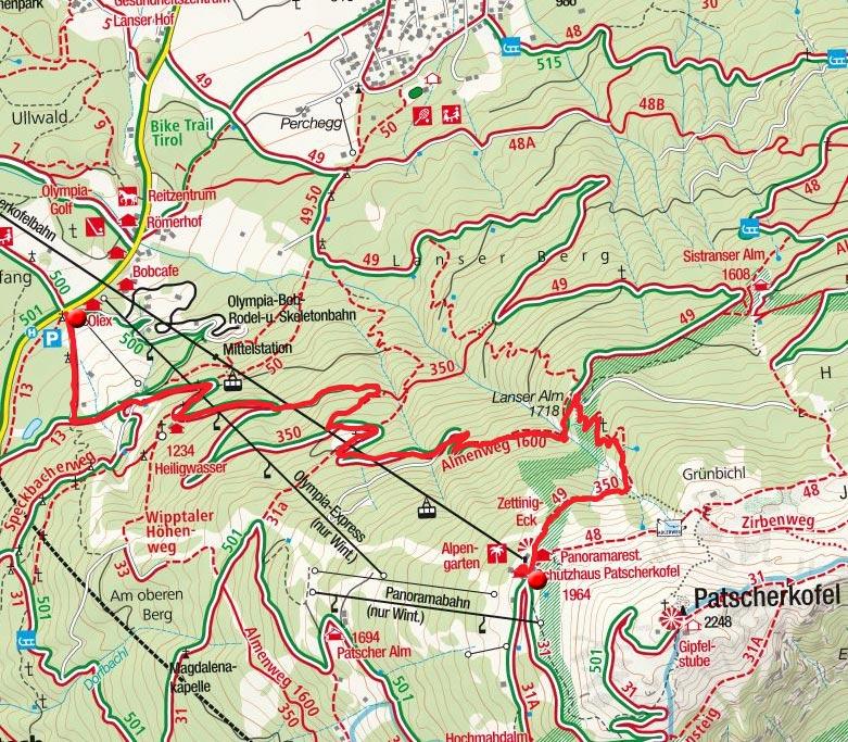 Patscherkofel-Bergstation - Lanser Alm - Talstation