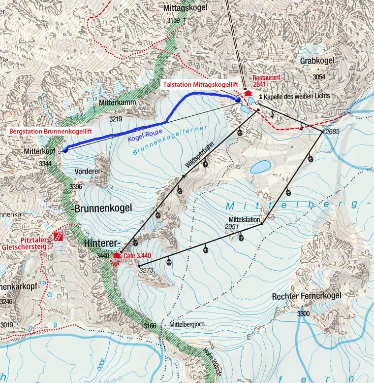 Kogel-Route im Skitouren Park am Pitztaler Gletscher