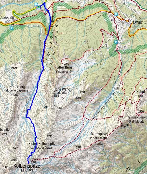 Kolbenspitze (2868 m) durch das Farmazontal