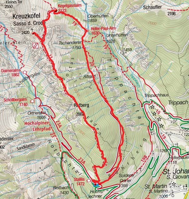 Kreuzkofel - Kegelgassl Alm Rundtour vom Berggasthof Stallila