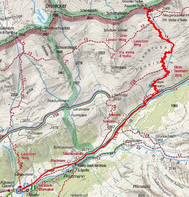 Krimmler Tauern Pass (2634 m) von Kasern