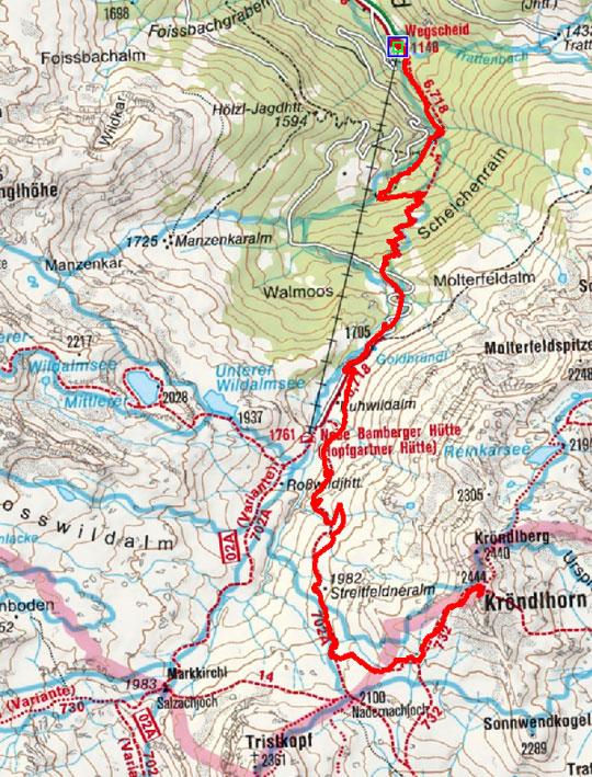 Kröndlhorn (2444 m) vom Gasthof Wegscheid