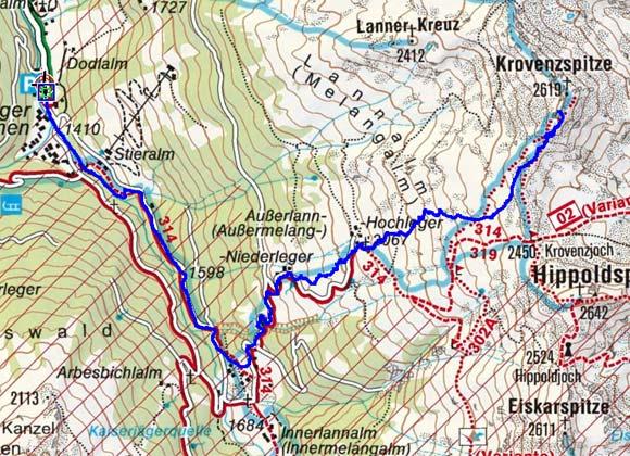 Krovenzspitze (2619 m) vom Lager Walchen