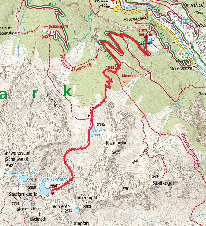 Krummer See (2584m) vom Weiler Rehwald