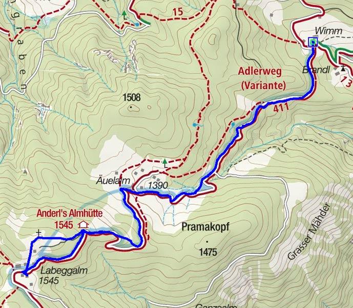 Labeggalm (1545 m) vom Erbhof Wimm