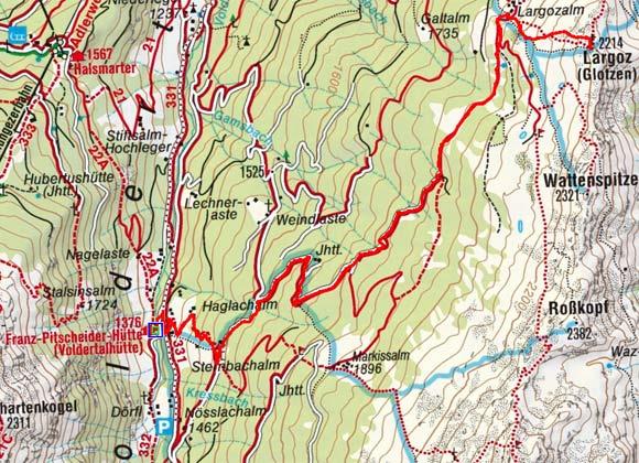 Largoz (2214 m) von der Voldertalhütte