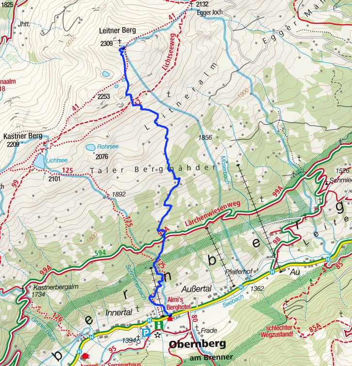Leitner Berg (2309m) vom Almis Berghotel