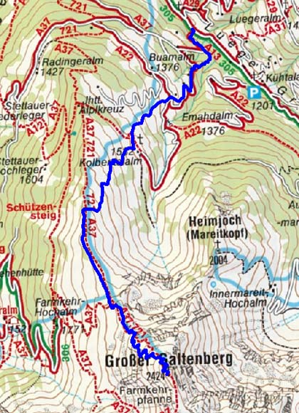 Großer Galtenberg (2424 m) aus dem Luegergraben