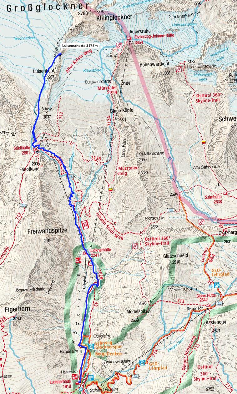 Luisenscharte (3175m) vom Lucknerhaus
