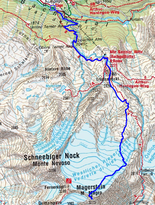 Magerstein (3273 m) von der Jausenstation Säge